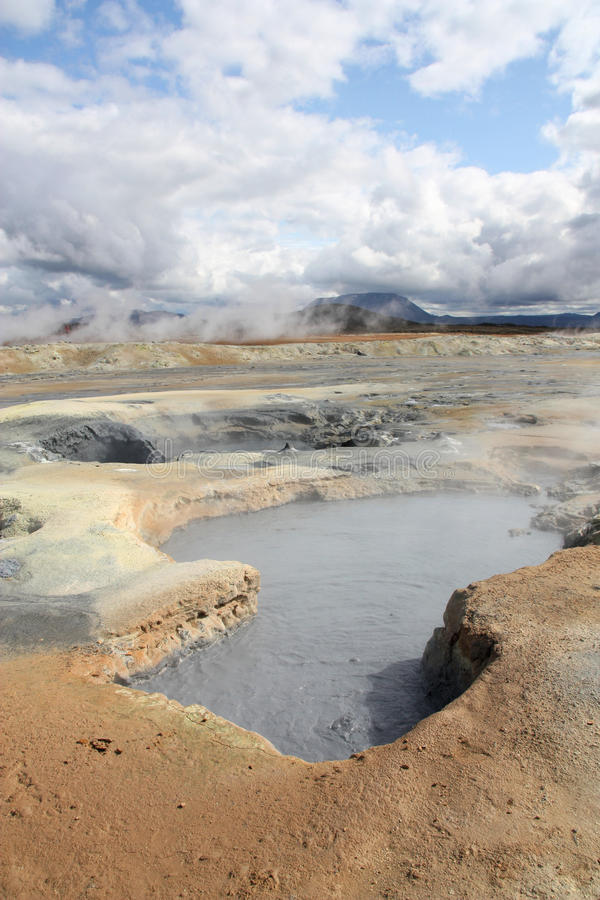 Iceland mud pool. Iceland - Namafjall, Hverir landscape. Volcanic activity - boiling mud and sulphuric formations stock photography