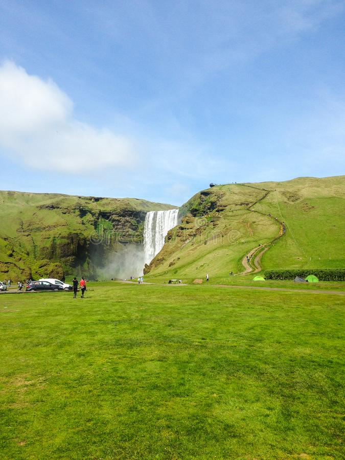 Iceland. Nature and Landscapes. The scenic jump of Skogafoss waterfall, a famous natural attraction of this great island in the Atlantic ocean stock photography