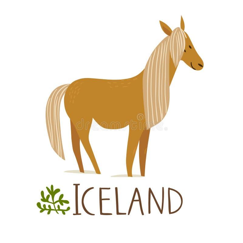 Iceland natury symbolu wektorowy koń z tekstem ilustracji