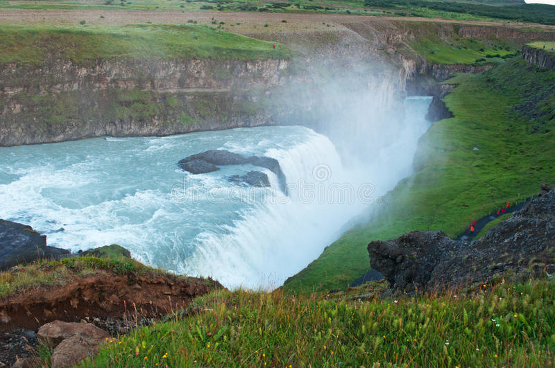 Iceland, Northern Europe, Gullfoss, waterfall, Golden Fall, canyon, nature, climate change. Panoramic view of Gullfoss after midnight sunset on August 6, 2012 stock image