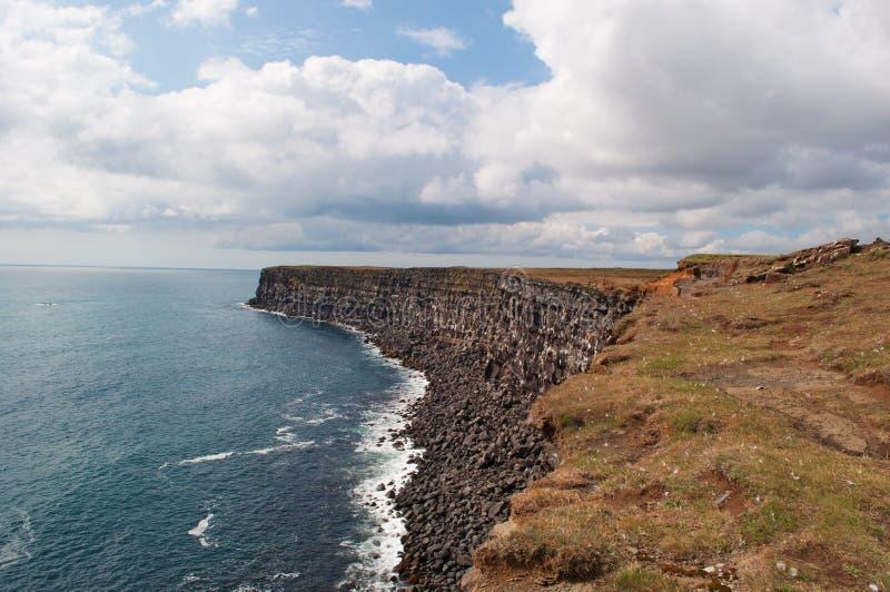 Iceland, Northern Europe, black, beach, rocks, sand, Krysuvikurberg, cliffs royalty free stock photography