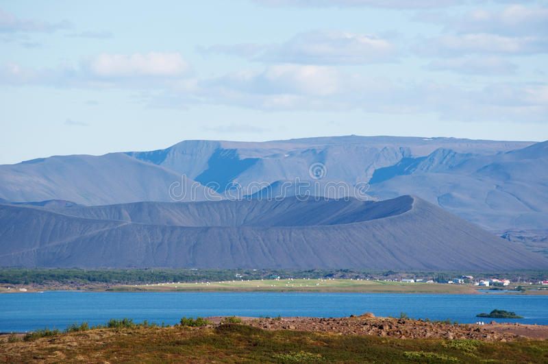 Iceland, Northern Europe, Myvatn, lake, volcano, Hverfjall, landscape, nature reserve. View of volcano Hverfjall on August 22, 2012. Hverfjall is a tuff ring royalty free stock photography