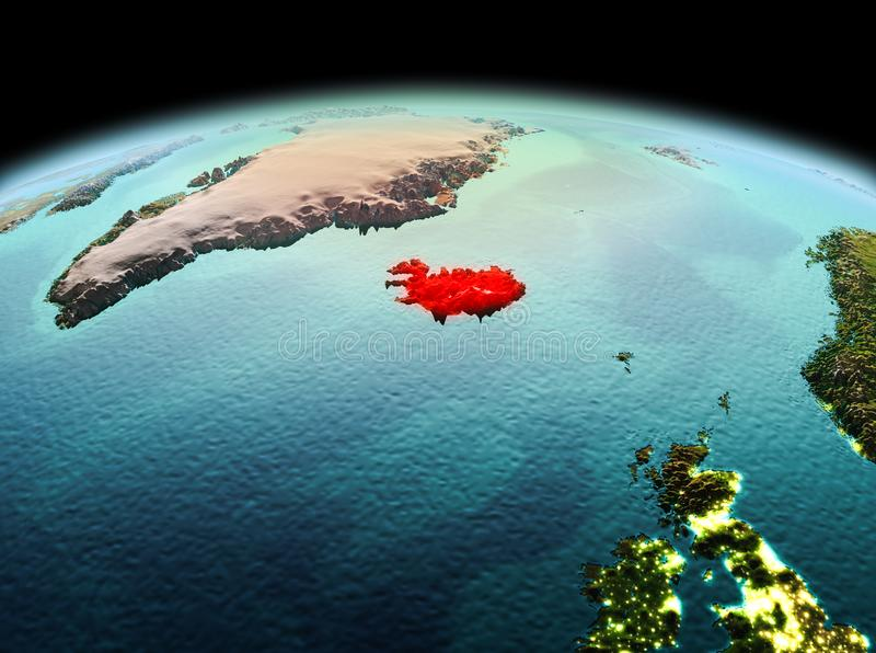 Iceland on planet Earth in space. Morning above Iceland highlighted in red on model of planet Earth in space. 3D illustration. Elements of this image furnished stock photos