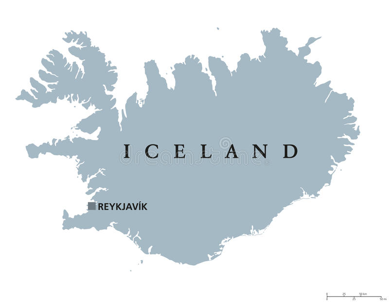 Iceland political map. With capital Reykjavik. Republic and Nordic island country in Europe and the North Atlantic Ocean. Gray illustration with English stock illustration