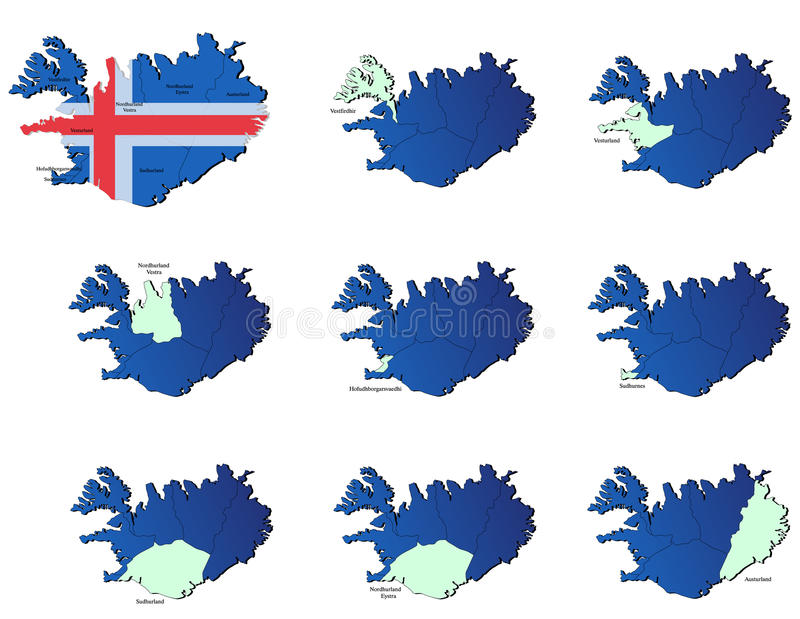 Iceland Provinces Maps Stock Photo
