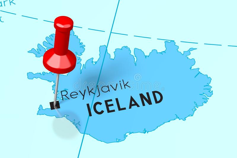 Iceland, Reykjavik - capital city, pinned on political map vector illustration