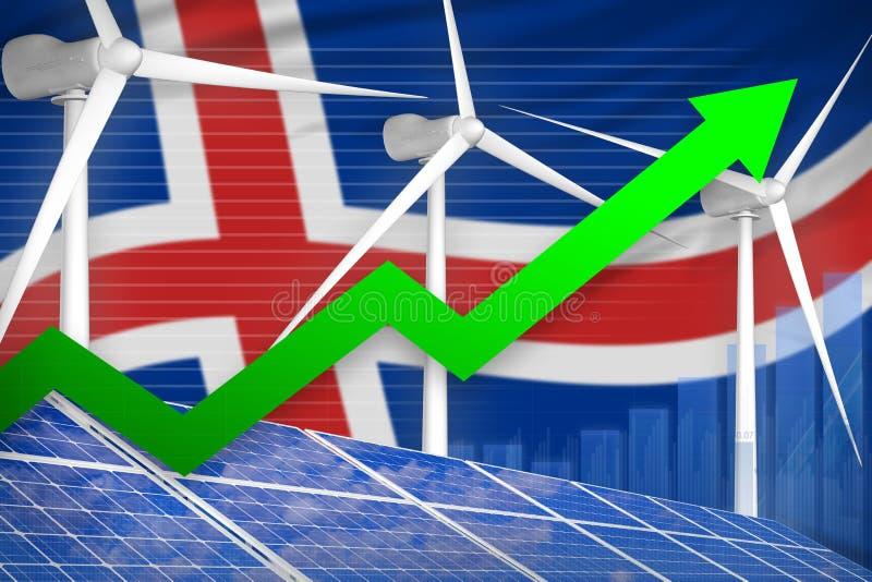 Iceland słonecznej i wiatrowej energii wydźwignięcia mapa, strzała w górę - nowożytnej naturalnej energii przemysłowej ilustracji ilustracji