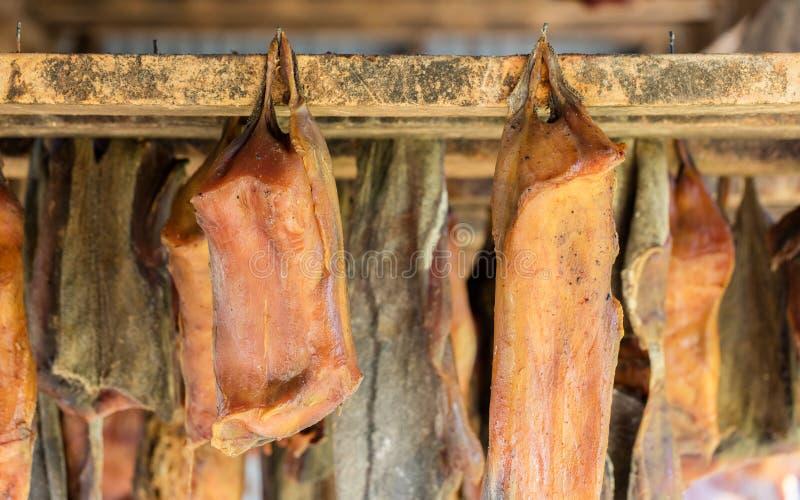 Iceland's fermented shark. At Bjarnarhofn Shark Museum (drying house, Iceland stock photos