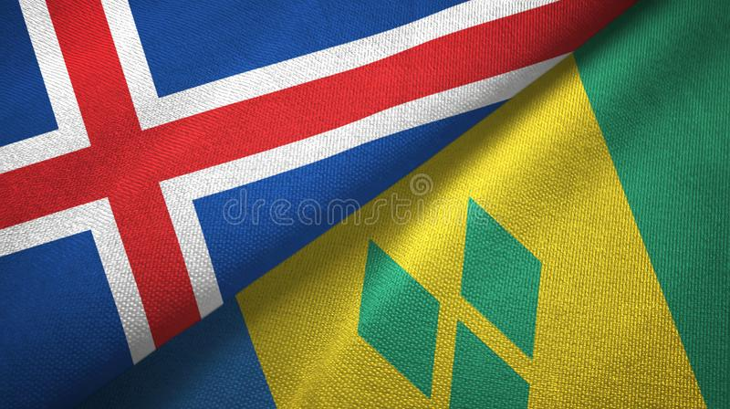 Iceland and Saint Vincent and the Grenadines two flags textile cloth stock illustration