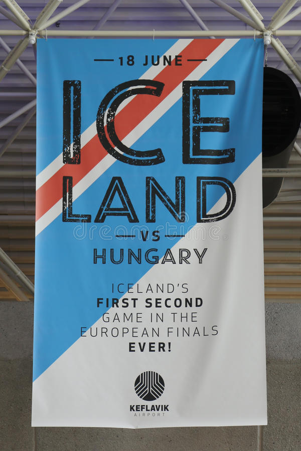 Iceland soccer team banner in the memory of Euro Cup 2016 games stock photography