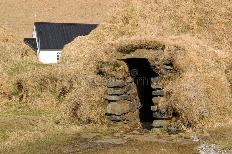 Iceland Sod House. Antique rural winter shelter royalty free stock images