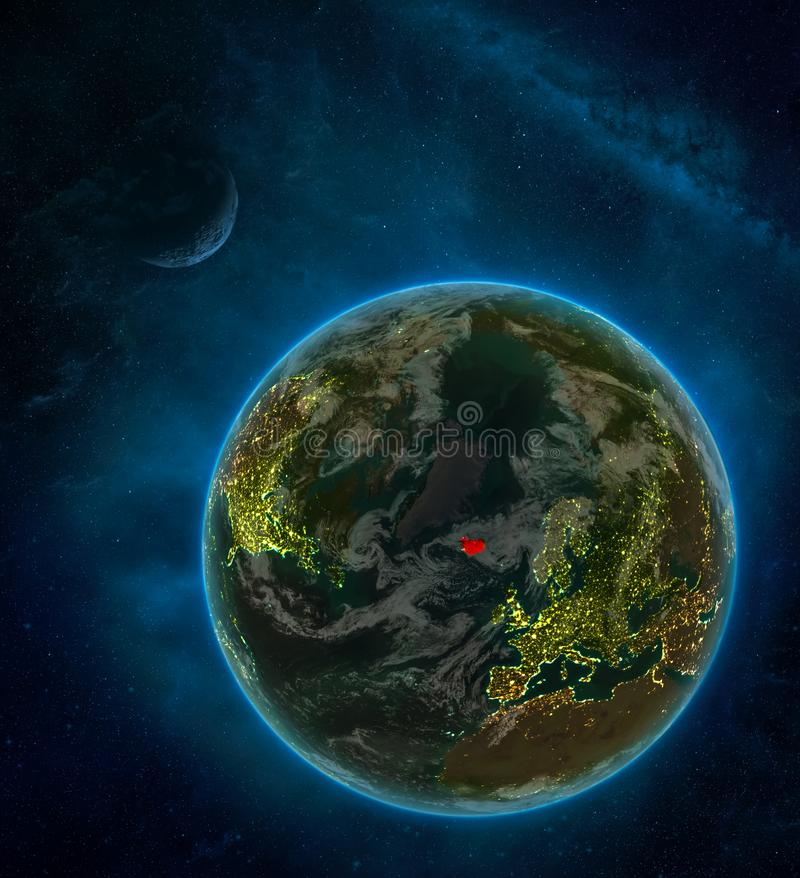 Iceland from space on Earth at night surrounded by space with Moon and Milky Way. Detailed planet with city lights and clouds. 3D. Illustration. Elements of royalty free illustration