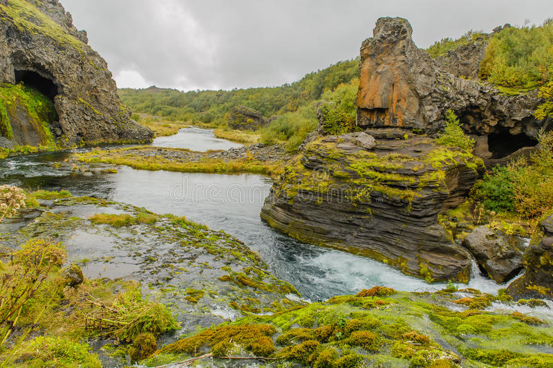 Iceland - Stöng. The heavenly landscape of the brooks and waterfalls of the Gjáin ravine near Stöng royalty free stock image