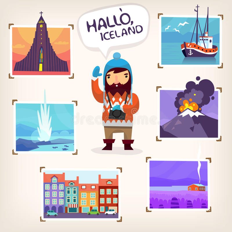 Iceland tourism. Iceland tourist making pictures of famous Iceland sights and beautiful nature stock illustration