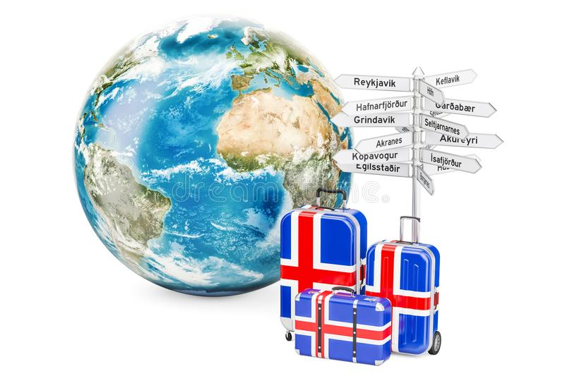 Iceland travel concept. Suitcases with signpost and Earth Globe, 3D rendering. Iceland travel concept. Suitcases with signpost and Earth Globe, 3D vector illustration