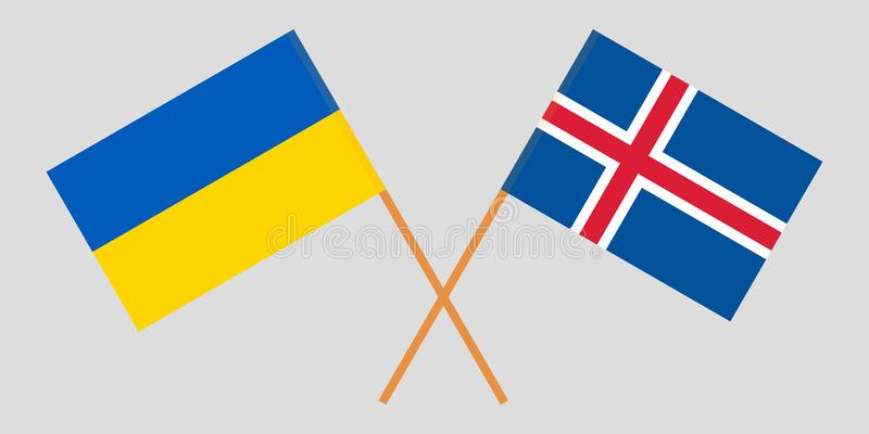 Iceland and Ukraine. The Icelandic and Ukrainian flags. Official colors. Correct proportion. Vector. Illustration vector illustration