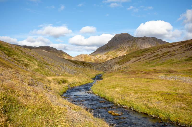 Iceland. View landscape with mountain river. Warm sunny summer day.  stock photography