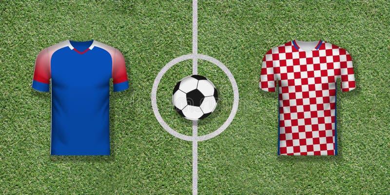 Iceland vs Chorwacja międzynarodowy mecz piłkarski dobierać do pary na futbolu royalty ilustracja
