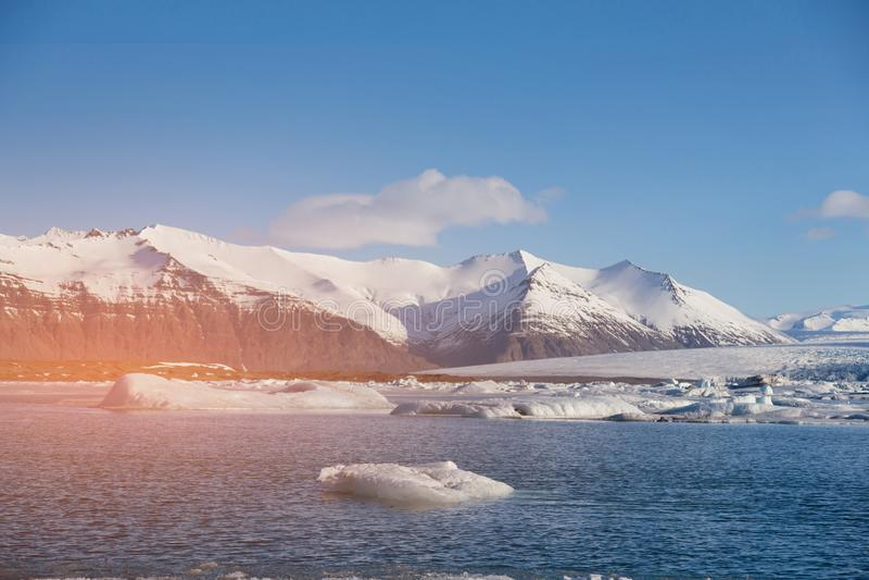 Iceland winter season Jakulsarlon lagoon natural landscape. Background stock images