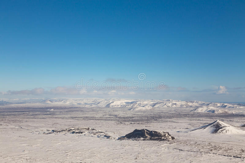 Iceland winter season natural landscape aerial view. With clear blue skyline stock photo