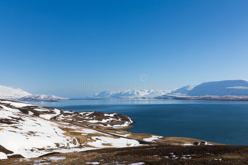 Iceland winter season natural landscape. With clear blue sky background stock photo