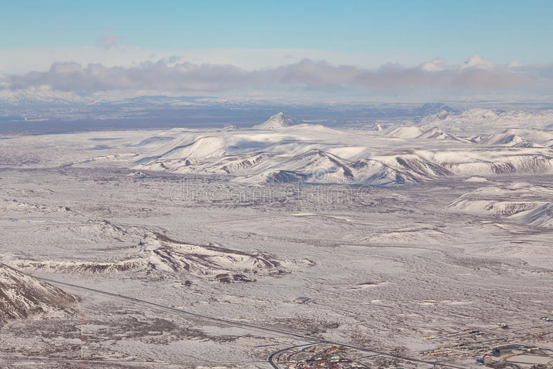 Iceland winter season natural landscape. High angle view royalty free stock photos