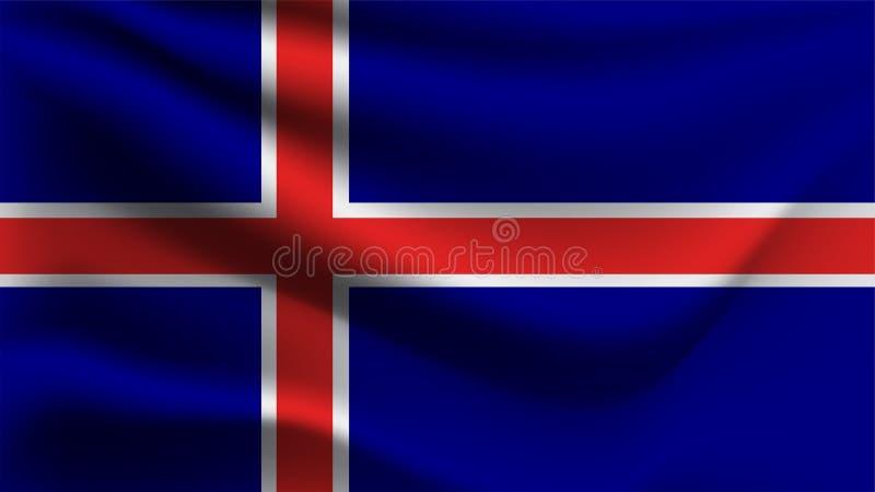 Iceland zaznacza falowanie z wiatru 3D ilustracji fali flagą royalty ilustracja