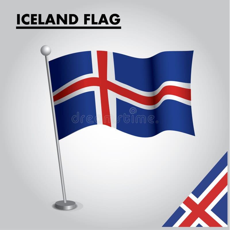 ICELAND zaznacza flagę państowową ICELAND na słupie royalty ilustracja