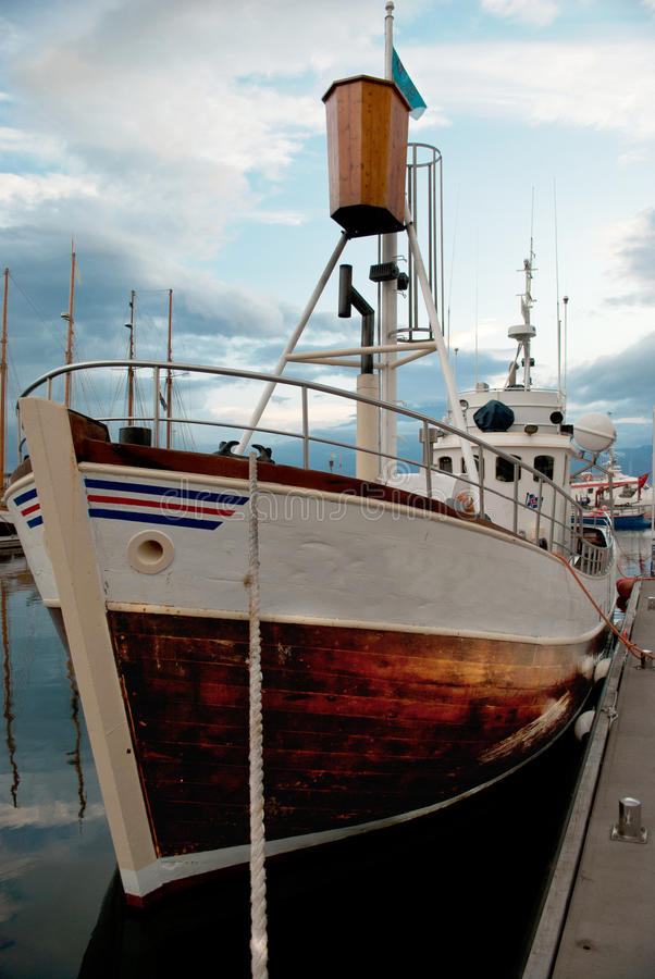Icelandic fishing boat in the port of Husavik stock images