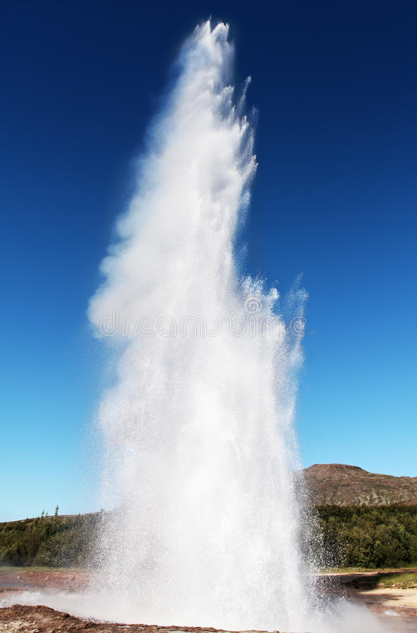Icelandic geyser. In full action royalty free stock photography