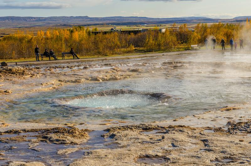 Iceland, September 27, 2019, Icelandic Geyser Strokkur. Great tourist attraction on Golgen Circle Iceland. Vsible geyser valley. Icelandic Geyser Strokkur. Great royalty free stock images