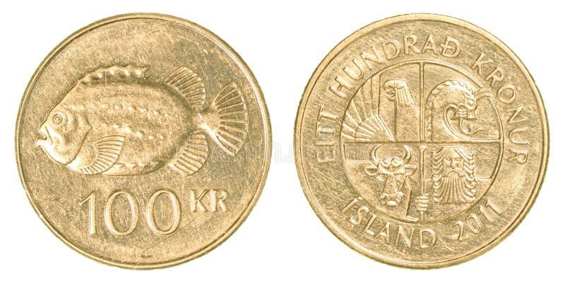 100 icelandic krona moneta fotografia stock