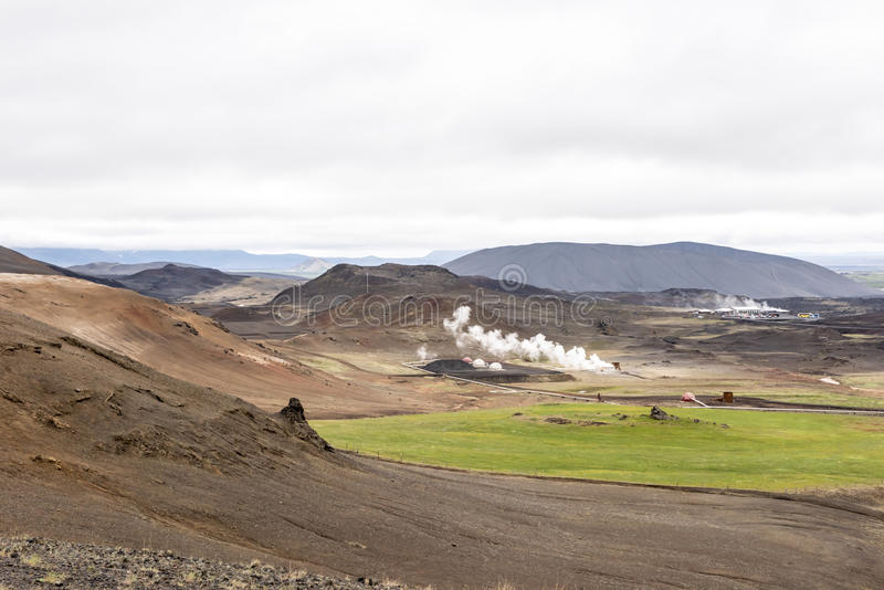 Icelandic landscape with geothermal steam royalty free stock images