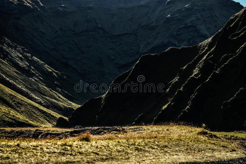 Icelandic landscapes in the Vik area. Endless spaces, green and stock photos