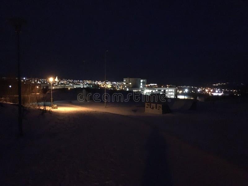 Icelandic mornings be like. Good morning iceland akureyri haskolinn university snow winter dark darkness lieghtd stock images