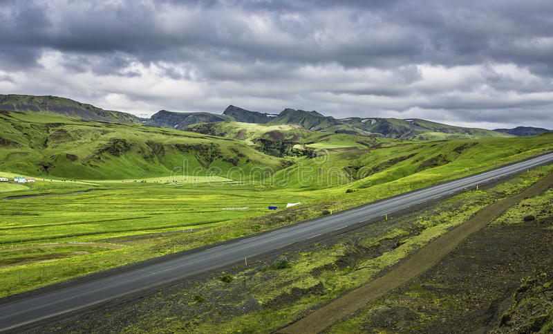 Icelandic mountain landscapes with asphalt road stock photo