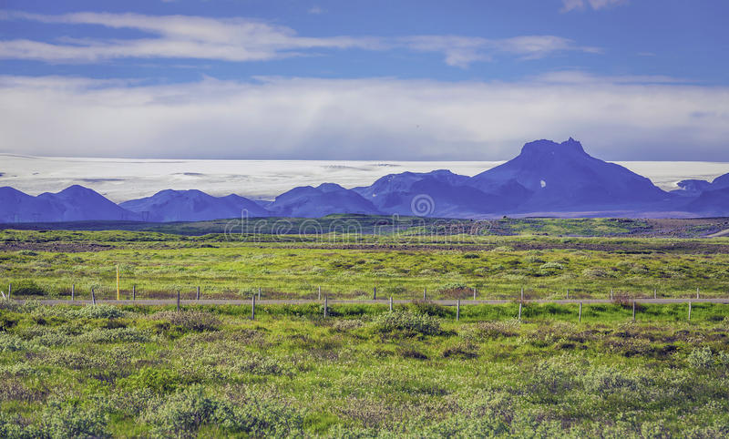 Icelandic mountain landscapes with glacier stock photography