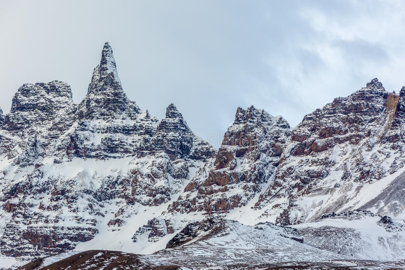 Icelandic mountain peaks covered with snow royalty free stock image