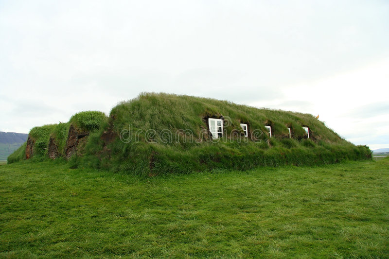 Icelandic turf house royalty free stock photos
