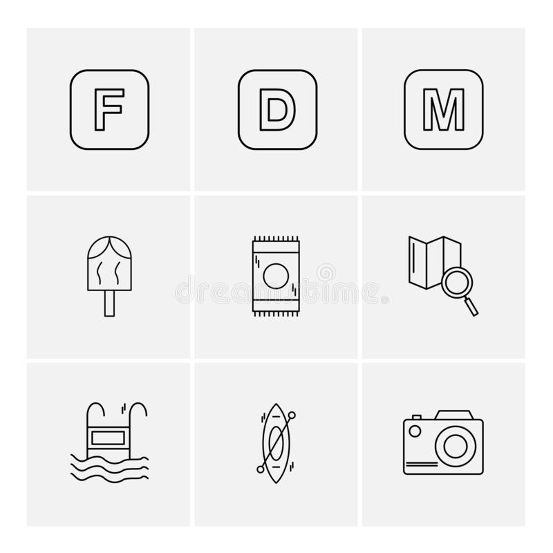 icelolly, αναζήτηση, χάρτης, κάμερα, αλφάβητα, θάλασσα, τρόφιμα, picni διανυσματική απεικόνιση