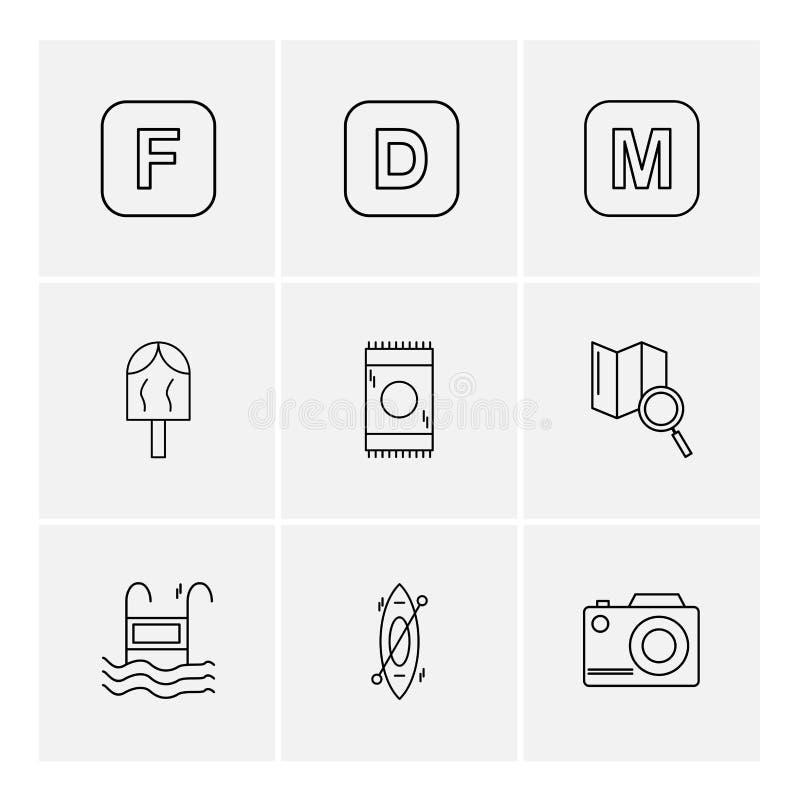 icelolly, recherche, carte, appareil-photo, alphabets, mer, nourriture, picni illustration de vecteur