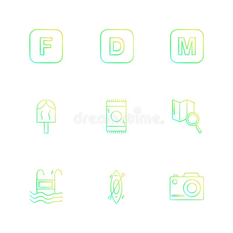 icelolly, search , map , camera , alphabets , sea , food , picnic , summer , eps icons set vector stock illustration