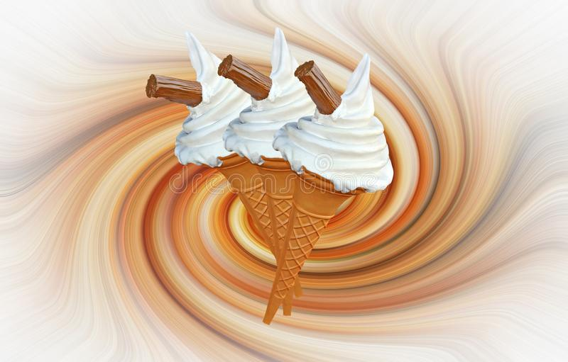 Ices ice cream chocolate flake dairy swirls swirling pattern stock image