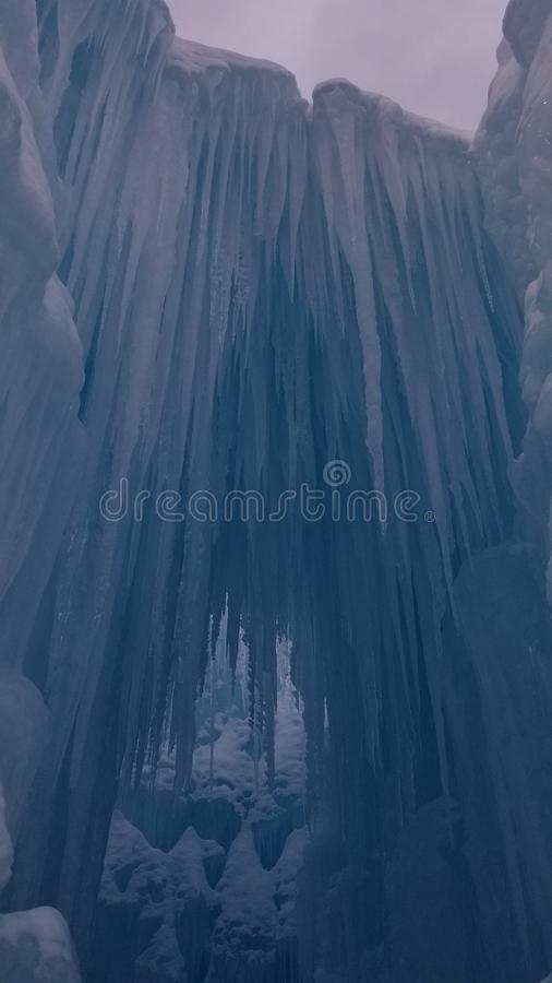 A icey archway in Lincoln New Hampshire stock photography