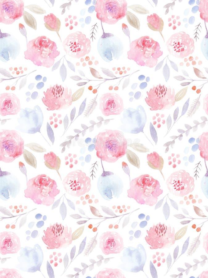 Ich bin der Autor dieser Abbildung Nahtloses Muster Nette Rosen stock abbildung