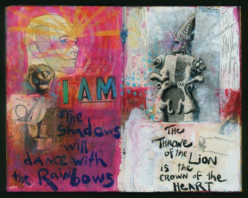 Ich bin die verrückte Klugheits-handgemachte Collage Art Journal des Künstlers vektor abbildung