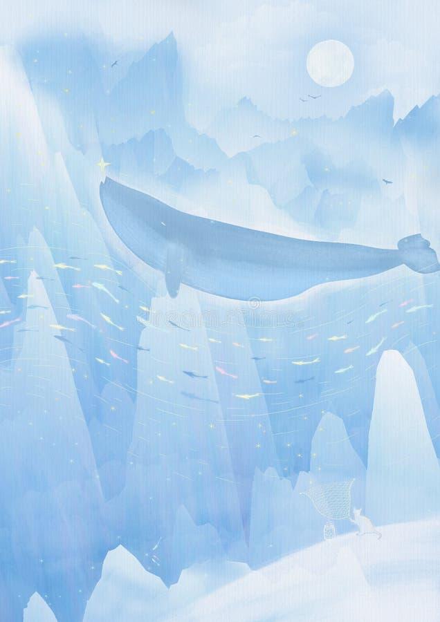 Ich bin ein Blauwal, der nur eine Insel ist Ich habe die größte Zahl Die Fische und die Garnele gehen auf der Seite des Körpers u vektor abbildung