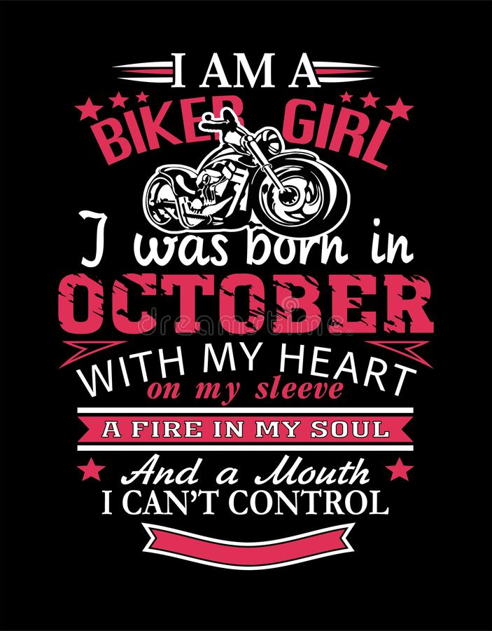 Ich bin ein Radfahrer-Mädchendesignt-shirt lizenzfreie stockbilder
