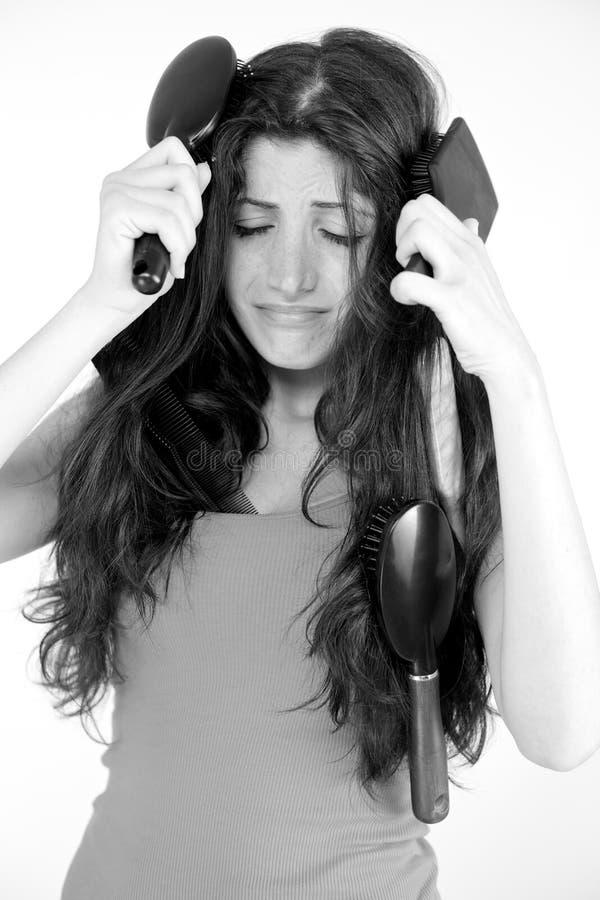 Ich habe irgendein Problem, zum meines Haares zu bürsten lizenzfreie stockbilder