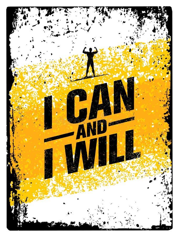 Ich kann und ich werde es tun Sport-Turnhallen-Typografie-Trainings-Motivations-Zitat-Fahne Starkes Vektor-Trainings-Inspirations vektor abbildung
